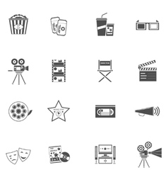 Movie icons black set vector