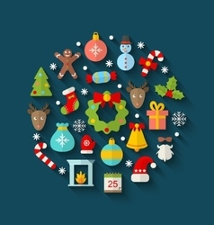 Christmas colorful objects and elements vector