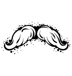 Hipster black mustache in line art style vector