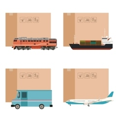 Set of cargo transportation with boxes vector