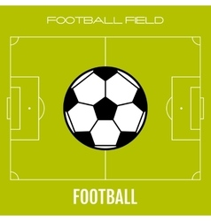 Green soccer field with flat icon ball football vector