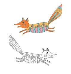 Funny cartoons decorative fox vector image