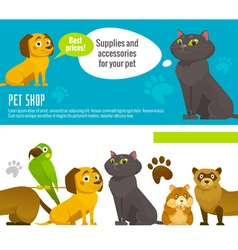 Pet shop horizontal banners with cat dog parrot vector