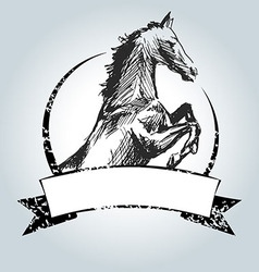 Vintage label with drawing horse vector