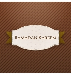 Ramadan kareem greeting badge with text vector