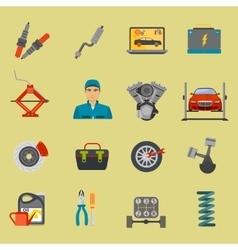 Auto mechanic car repair service flat icon set vector