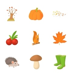 Autumn weather icons set cartoon style vector image