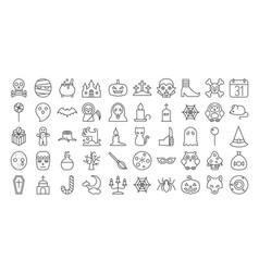 Big set of halloween outline icon vector