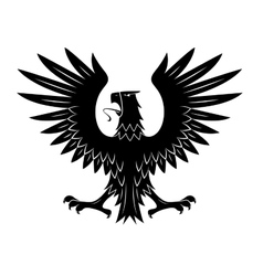 Black heraldic eagle with spread wings symbol vector