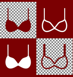 Bra simple sign bordo and white icons and vector