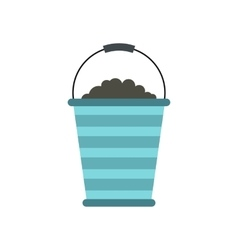 Bucket of turf icon vector