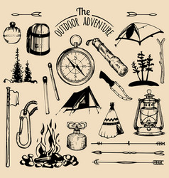 camping sketched elements set of vintage vector image