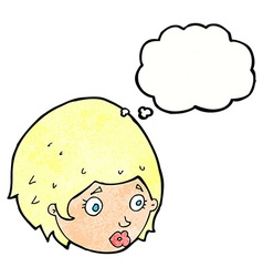 cartoon girl with concerned expression with vector image vector image