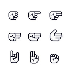 Cartoon hands set different gestures of fist vector