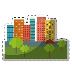 City scene and buildings with trees line sticker vector
