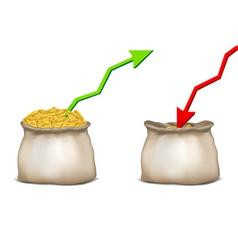 coin bag with arrow vector image