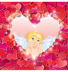 Cute angel in the heart shape frame vector