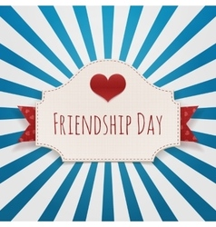 Friendship day paper emblem with text and heart vector