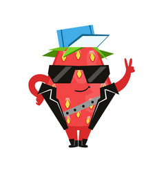 funny strawberry in a black vest and glasses vector image vector image