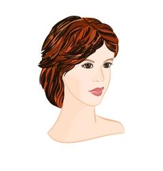 Girl brunette with short hair elegant portrait vector image