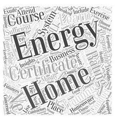 Home energy rating system certificate training vector