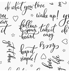 Lettering seamless pattern positive words vector image vector image