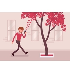 Man walks with smartphone to bump into a tree vector