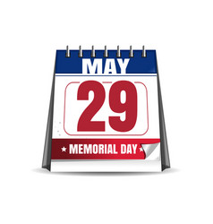 memorial day 2017 29 may desk calendar vector image vector image