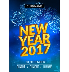 New Year party poster design with fireworks light vector image vector image