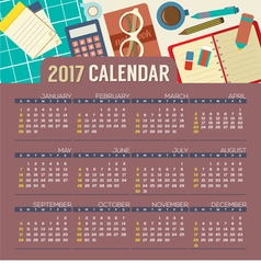 op View Workplace 2017 Printable Calendar vector image vector image