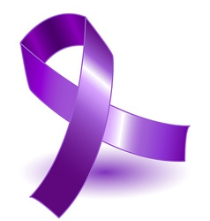 Purple awareness ribbon and shadow vector image