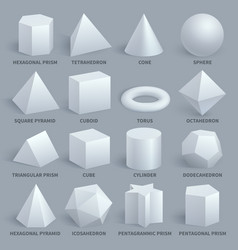 Realistic white basic 3d shapes set vector