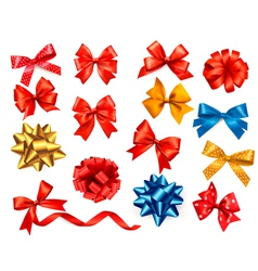 satin gift bows and ribbons vector image