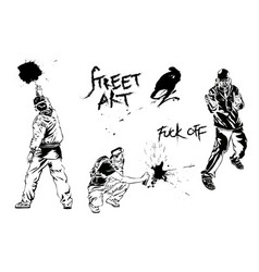 Set of graffiti art artists signs and splashes vector
