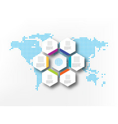seven white hexagons on the background of abstract vector image