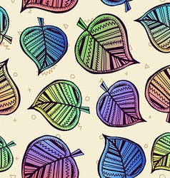 Summer pattern with color leaf nature background vector image