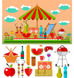 Summer picnic in the meadow vector image vector image