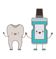 tooth and mouthwash in cartoon holding hands in vector image