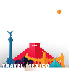 Travel mexico country paper cut world monuments vector