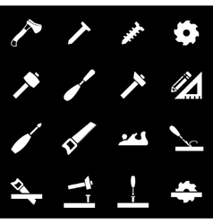 White carpentry icon set vector