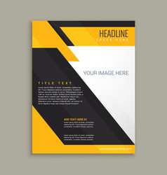 yellow and black business brochure poster vector image vector image