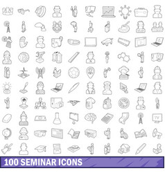 100 seminar icons set outline style vector