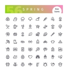 Spring Line Icons Set vector image