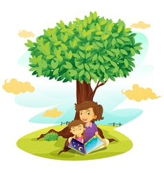 Girls reading under tree vector