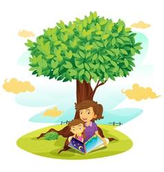 Girls reading under Tree vector image