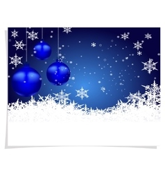 Christmas new year s card three blue shiny ball vector