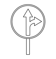 Straight or right turn ahead traffic sign icon vector
