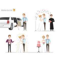 Set of wedding pictures bride and groom in love vector