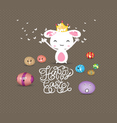 happy easter eggs and princess bunny funny vector image