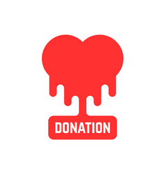 Donation icon with bleeding heart vector